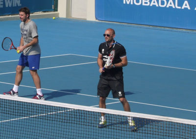 13. On court with Wawrinka in Abu Dhabi in 2014